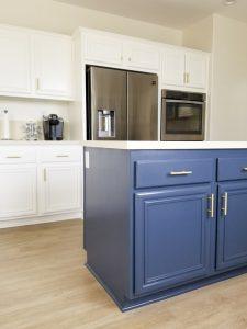Painted kitchen cabinets island