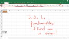 Feuille de calcul Excel sur un écran interactif tactile