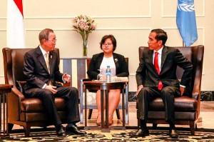 Sekjen PBB Ban Ki-moon menemui Presiden Jokowi, di Nay Pyi Taw, Myanmar, Kamis (13/11)