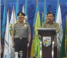 Wapres Jusuf Kalla saat menyampaikan sambutan pada Kongres ke-14 KNPI, di Jayapura, Papua, Kamis (26/2)