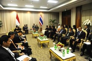 Suasana pertemuan bilateral Presiden Jokowi dan PM Thailand Prayut Chan O Cha, di JCC Jakarta, Kamis (23/4) pagi