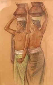 Foto 5: Dua Orang Gadis Menyunggi Djun, Rudolf Bonnet (1954) Crayon on paper, 55,5 X 35 cm