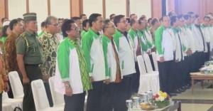 Presiden Jokowi saat menghadiri pembukaan Munas HKTI, di Asrama Haji Pondok Gede, Jakarta, Jumat (31/7)