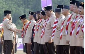 Presiden Jokowi saat menghadiri HUT ke-54 Gerakan Pramuka, di Bumi Perkemahan Cibubur, Jakarta, Minggu (16/8)