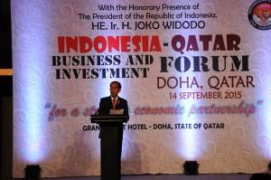 Presiden Jokowi menghadiri Forum Bisnis Indonesia - Qatar, di Doha, Qatar, Senin (14/9)