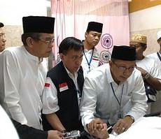 Menteri Agama Lukman Hakim Saifuddin mengunjungi korban musibah Crane, di RS An Nur, Jeddah, Arab Saudi, Sabtu (12/9) pagi