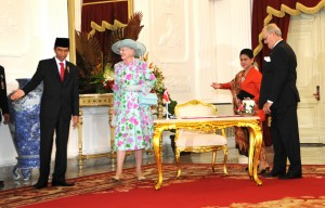 Presiden Jokowi dan Ibu Negara Iriana menerima kunjungan Putri Margrethe II dan Pangeran Consor dari Denmark, di Istana Merdeka, Jakarta, Kamis (22/10) siang