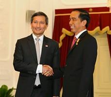 Presiden Jokowi saat menerima Menlu Singapura di Istana Merdeka, Jakarta (13/1). (Foto:Humas/Jay)