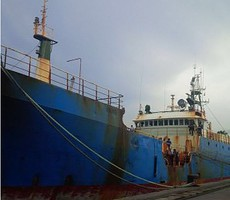 Kapal FV. Viking yang akan ditenggelamkan di Pangandaran, Jabar, Senin (14/3) ini, karena terlibat illegal fishing.