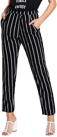 SweatyRocks striped elastic high waist pants | 40plusstyle.com