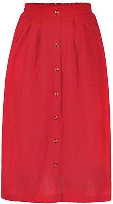 Azue A-line elastic waist midi skirt   40plusstyle.com