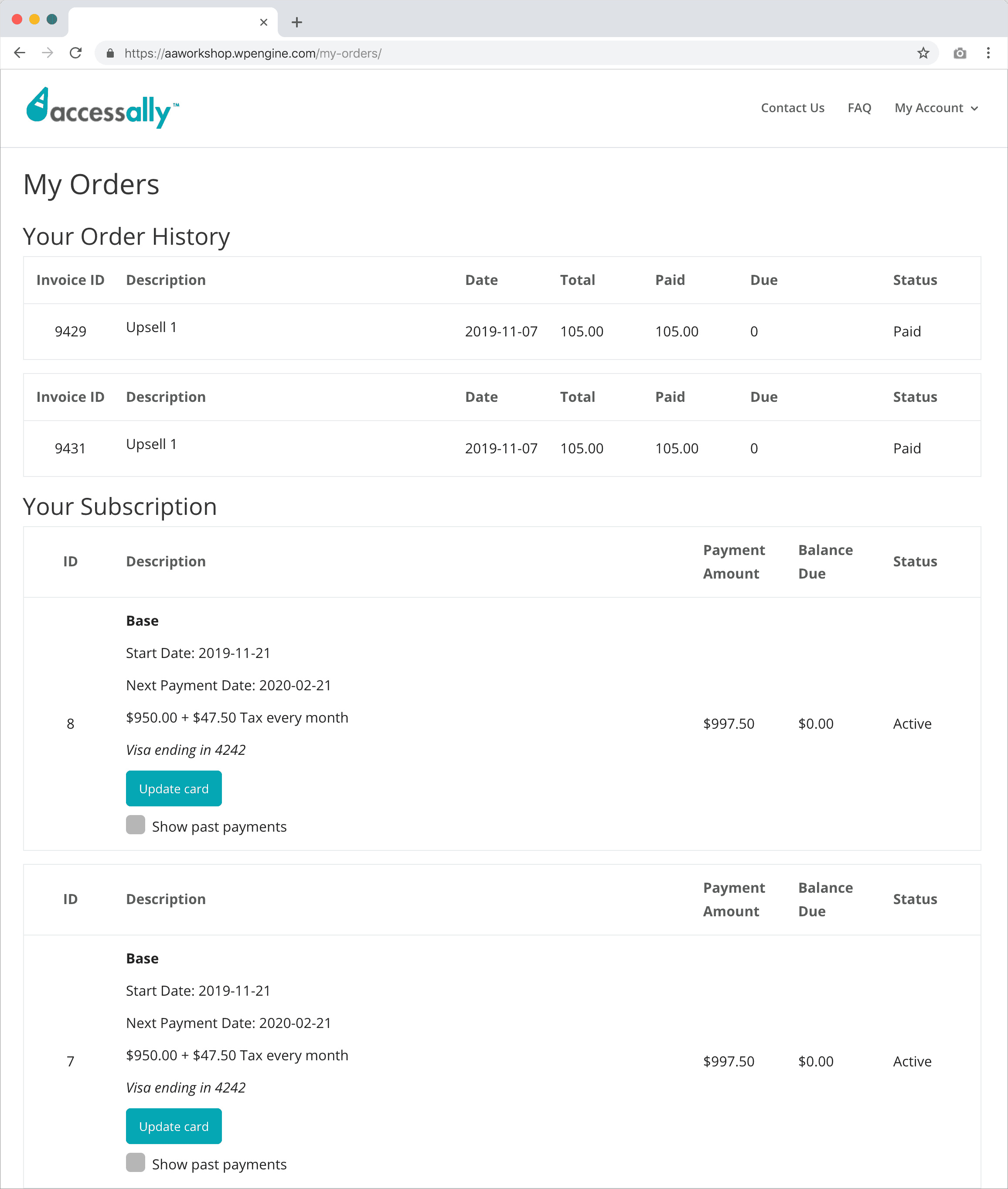 Screenshot of the update credit card page for customers