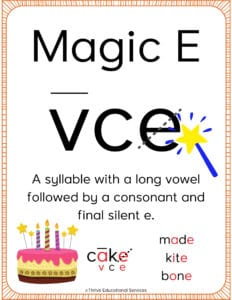 magic e syllable poster