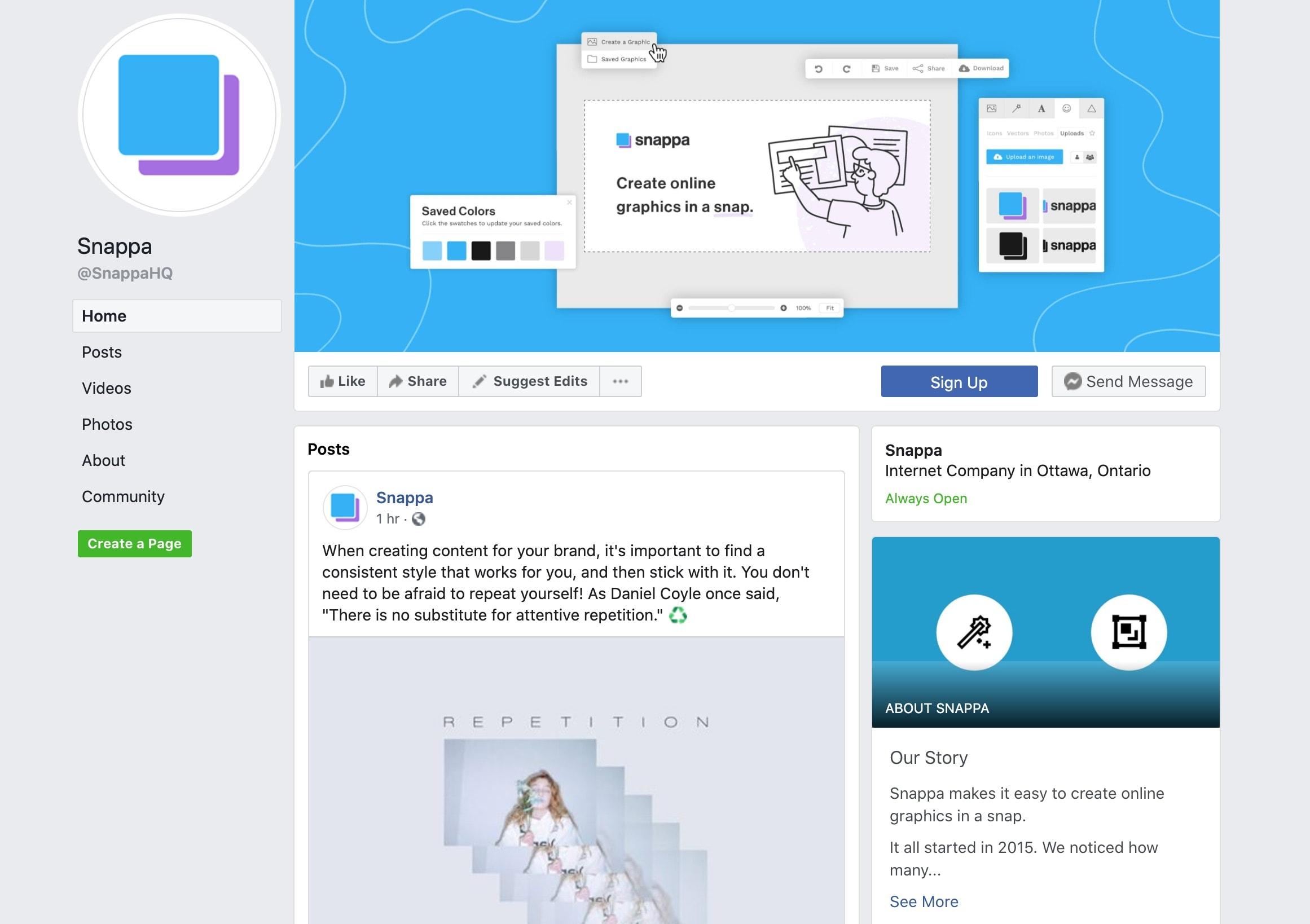 Snappa Facebook profile