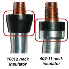 Image of neck insulator part number 10012 next to neck insulator part number 402-11 that shows the differences between the two.