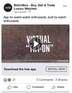 Facebook mobile app install ad.