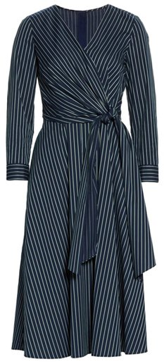 Lafayette 148 faux wrap midi dress | 40plusstyle.com