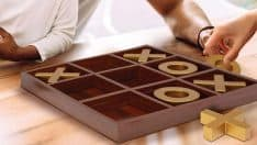 Large Wooden Tic-Tac-Toe Board Game