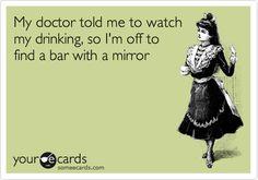 bar humor - bar with a mirror