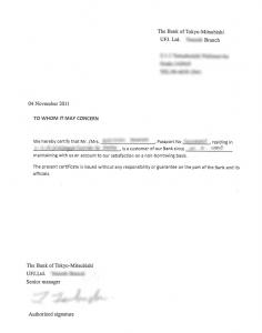 UFJ reference letter