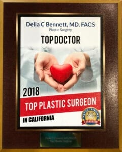 Top Plastic Surgeon in California 2018 Award. Awarded to Dr. Della Bennett, MD of Gemini Plastic Surgery in Rancho Cucamonga, California.