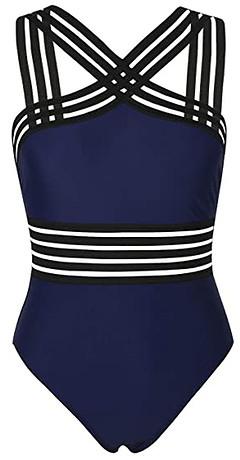 Hilor Front Crossover Hollow Bathing Suit | 40plusstyle.com