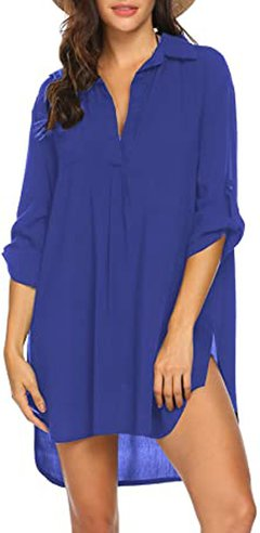 best bathing suit cover ups - Ekouaer beach cover-up shirt | 40plusstyle.com
