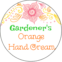 gardener's orange hand cream label
