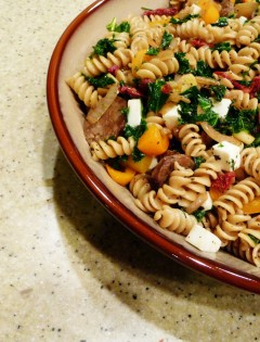 Rainbow Vegetable and Rotini Pasta Toss with Sausage