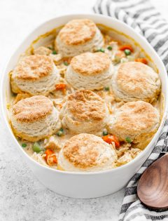 white casserole dish with chicken pot pie
