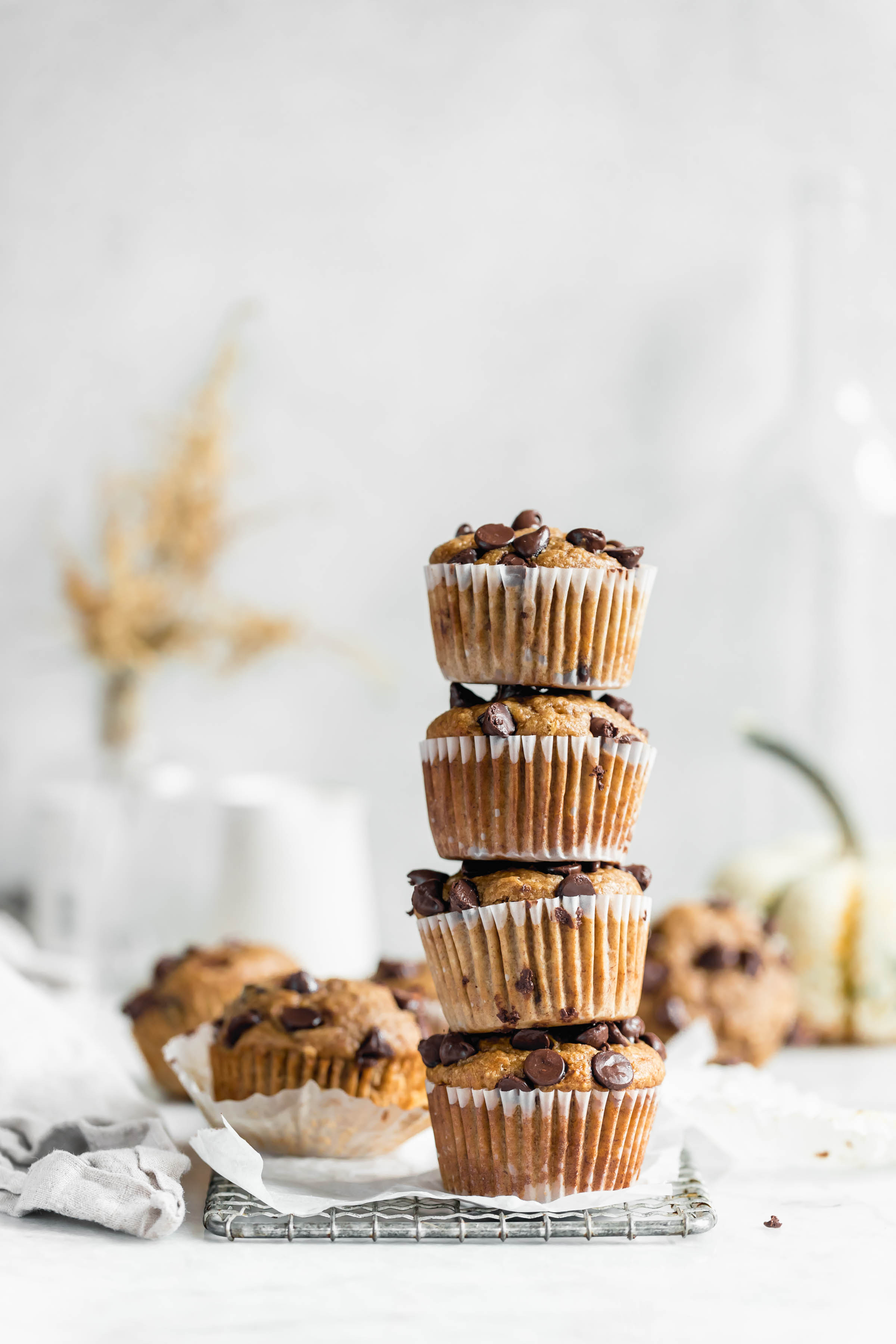 What do you need? This full stack of one bowl healthy peanut butter banana muffins!