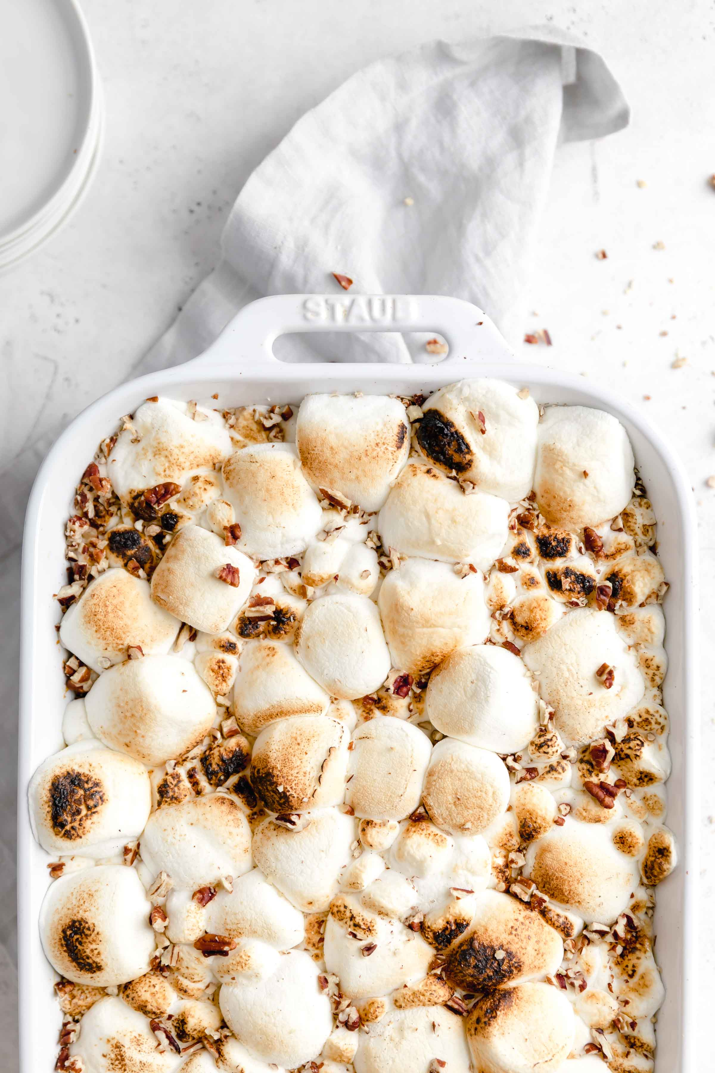 This loaded sweet potato casserole topped with a butter crumb topping AND marshmallows for the ultimate thanksgiving side dish!