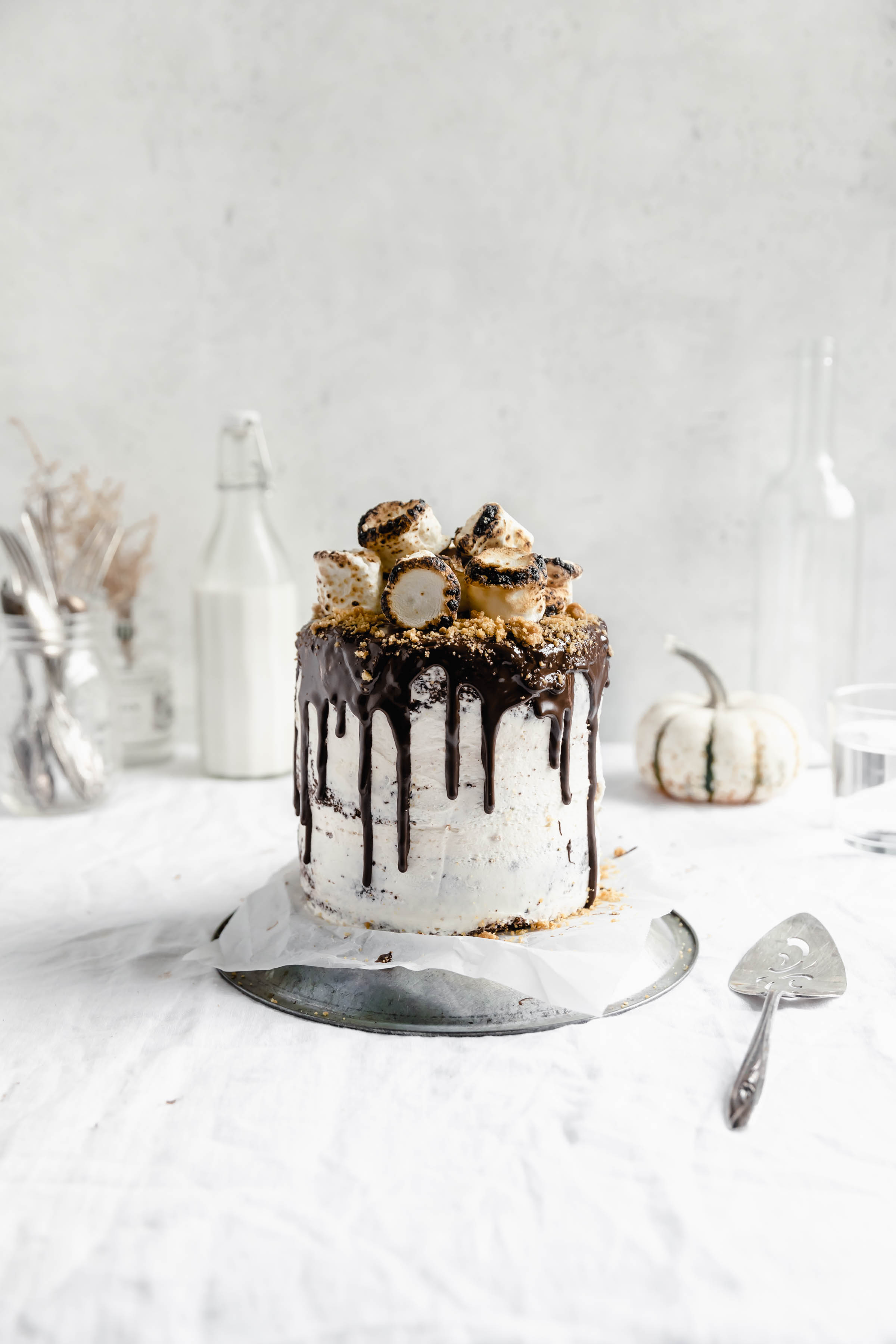 head on shot of s'mores cake with toasted marshmallows on top