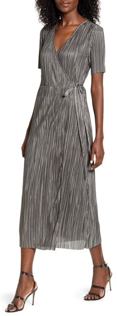 All in Favor metallic pleated wrap dress | 40plusstyle.com