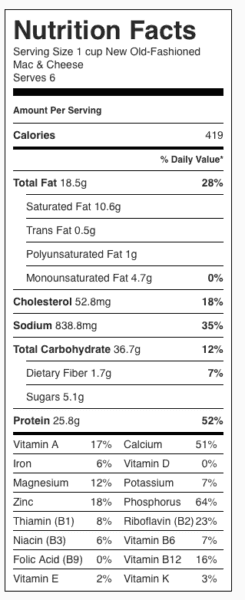 New Old-Fashioned Mac & Cheese Nutrition Label. Each serving is about 1 cup.