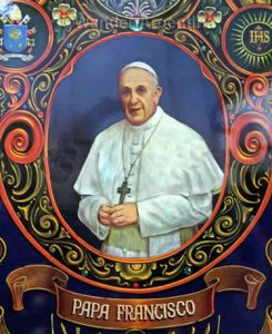 Fileteo depiction of Pope Francis. Learn all about the Argentine Pope and book a Pope Francis Buenos Aires tour on Wander Argentina