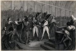 Francuska grafika przedstawiająca przewrót 18 brumaire'a roku VIII Marata podczas rewolucji francuskiej w Paryżu. Rycina wykonana została w technice miedziorytu około połowy XIX wieku.
