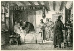 Miedzioryt autorstwa Adolfa Neumanna z końca XIX wieku przedstawiający rodzinę zebraną w izbie przy łóżku chorego dziecka.