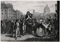 Francuska grafika przedstawiająca triumf Marata podczas rewolucji francuskiej w Paryżu. Rycina wykonana została w technice miedziorytu około połowy XIX wieku.