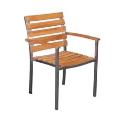 Teak and Stainless Steel Stackable Dining Arm Chair