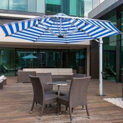 Aurora Octagon Cantilever Umbrella, Commercial Grade - Blue Stripe