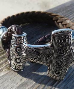 Lederarmband Mjolnir Thors-hammer Gothic
