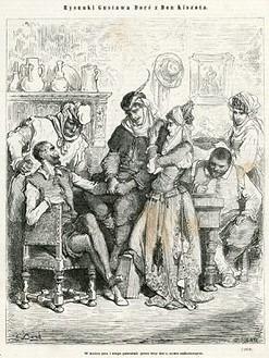 Grafika (drzeworyt sztorcowy) ilustrująca dzieje Don Kichota Cervantesa. Rycinę wykonał rytownik  H. Pisan wg rysunku Gustava Doré w 1871 roku.