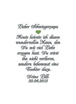 Gastgeschenk Hochzeit, besticktes Taschentuch Schwiegervater, Gastsgeschenk für den Schwiegervater