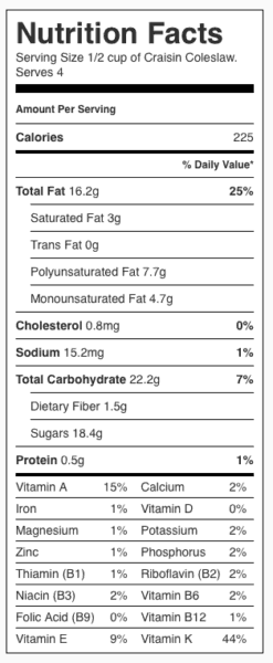 Craisin Coleslaw Nutrition Label. Each Serving is 1/2 cup.
