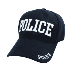 Black Police Baseball Cap with ID on front, peak and back