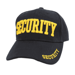Black Security Baseball Caps with ID on front, peak and back