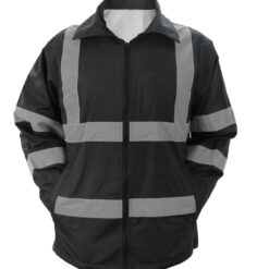 High Visibility Black Raincoat With Reflective Stripes - Plain