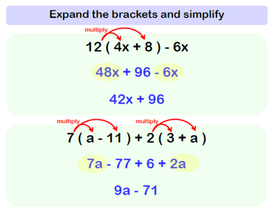Expanding Brackets Worksheet Example 2