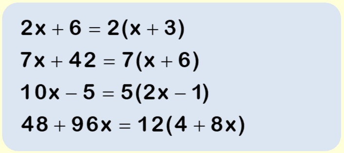 Factorising worksheet example